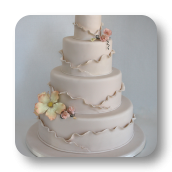 Shimmering Ivory Wedding Cake with Asymmetrical Ruffles.