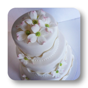 Delicate, Shimmering Ruffles & Dogwood Flowers~ Wedding Cake