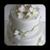 Delicate, Shimmering Ruffles & Dogwood Flowers~ Wedding Cake