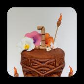 Tiki~Luau Cake