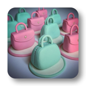Mini Retro Handbag Cupcake Toppers