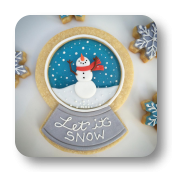 Snowglobe Sugar Cookies with Crystal Blue Candy Centers!