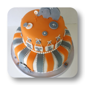 Buttons and Elephants Baby Shower Cake