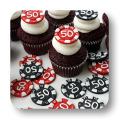 Poker Chip Topped Cupcakes for a 50th Birthday!
