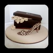 Leopard Print Stiletto & Shoe Box Cake
