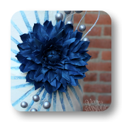 Blue Dahlia & Painted Buttercream Wedding Cake